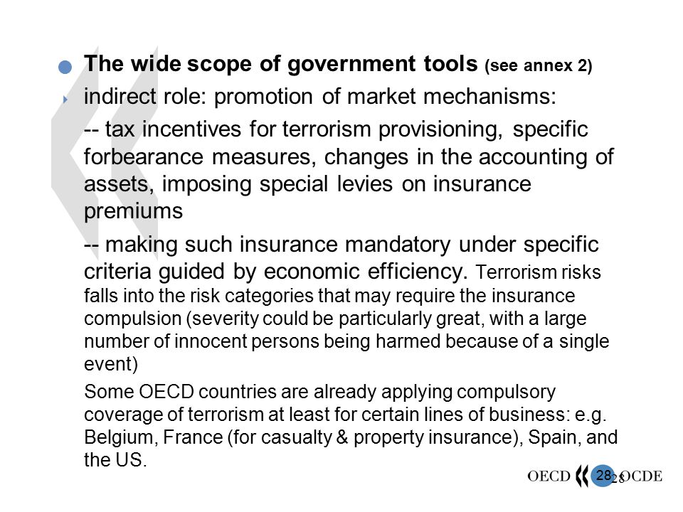 The wide scope of government tools (see annex 2)