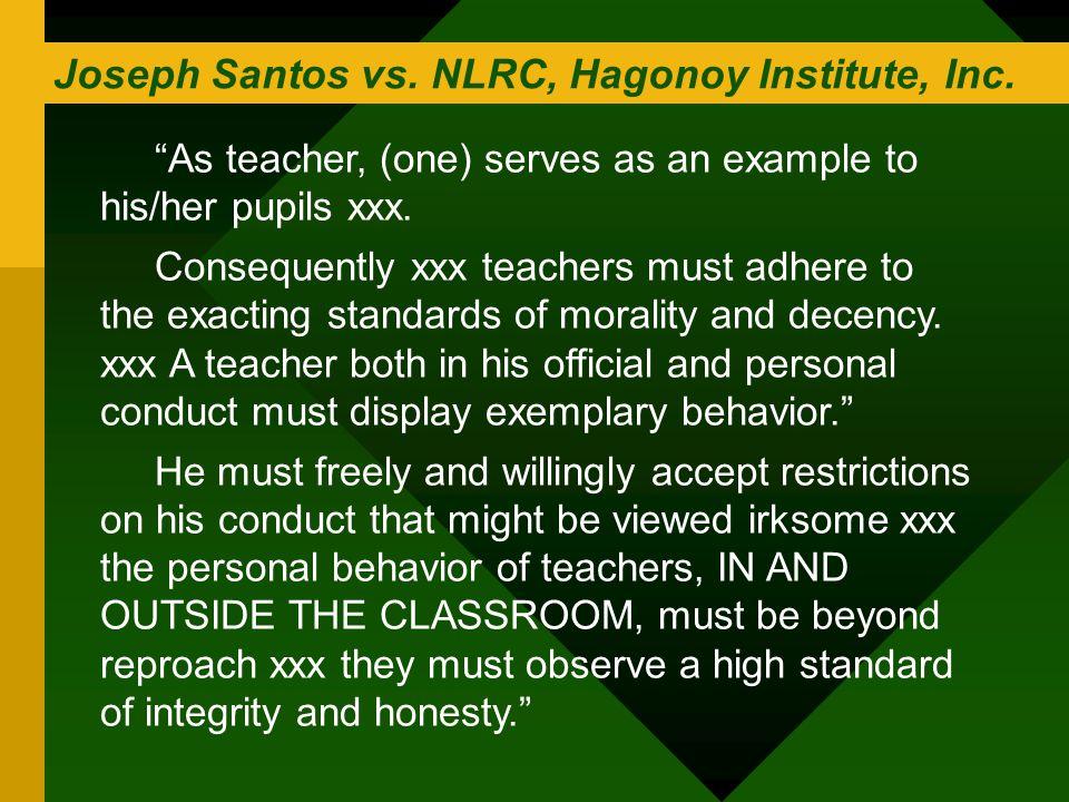 Joseph Santos vs. NLRC, Hagonoy Institute, Inc.
