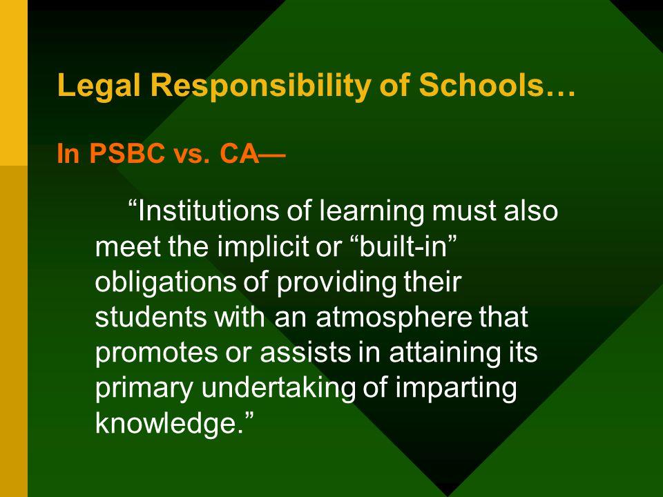 Legal Responsibility of Schools…