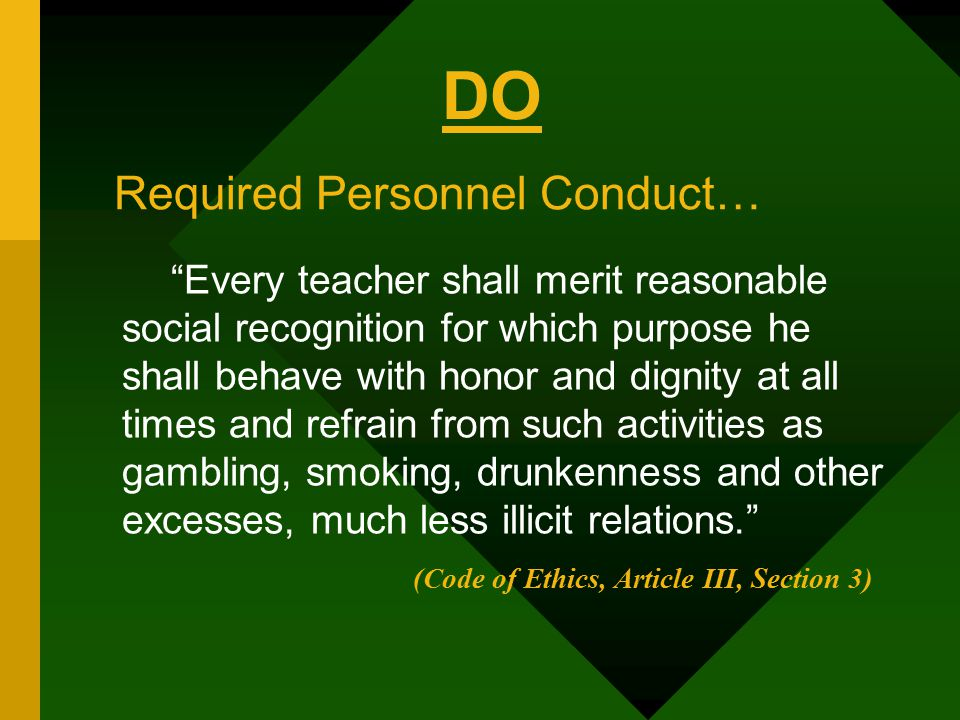 DO Required Personnel Conduct…