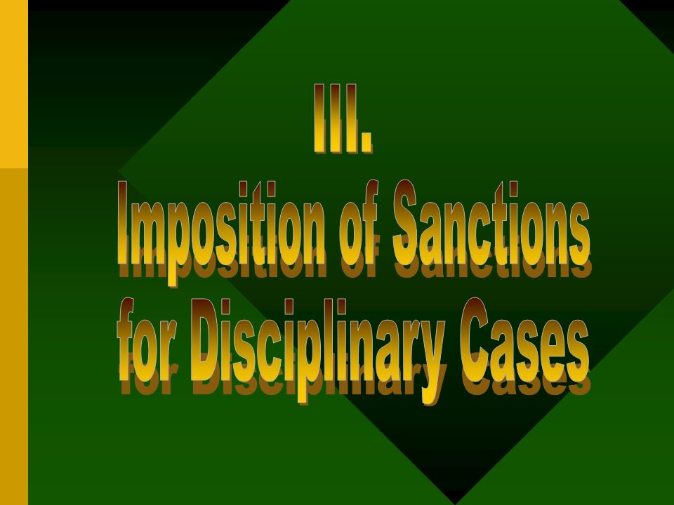 Imposition of Sanctions