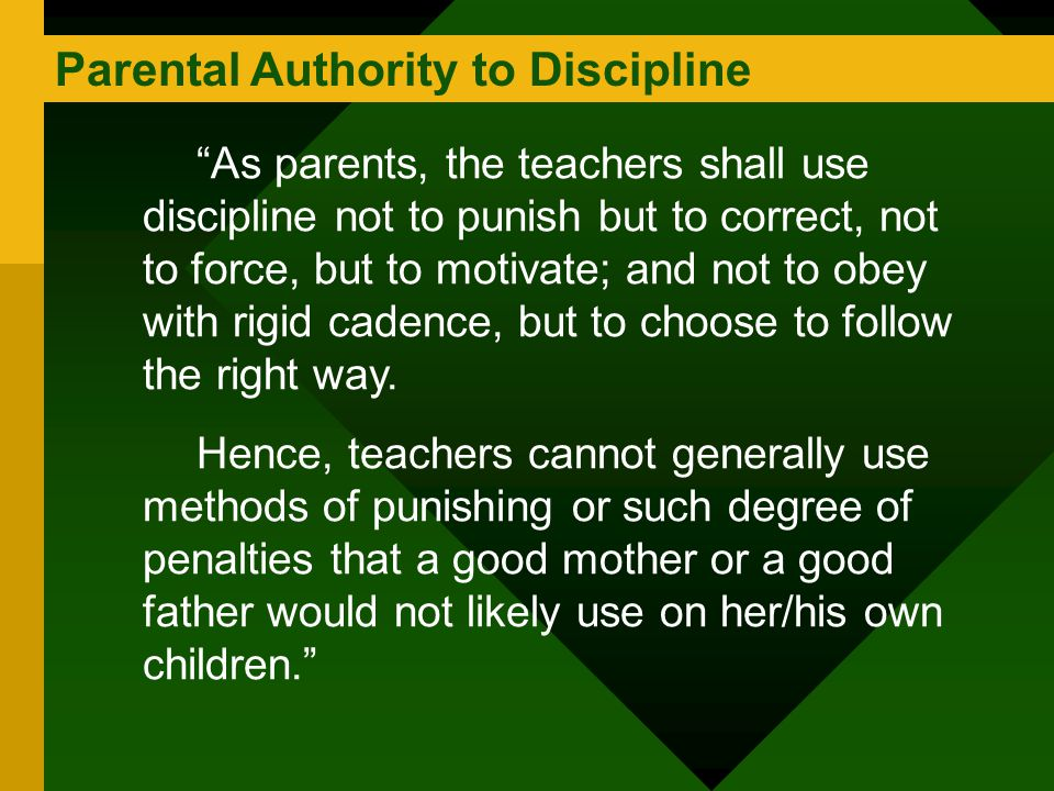 Parental Authority to Discipline