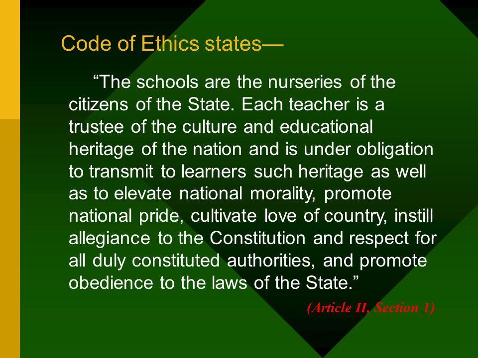 Code of Ethics states—