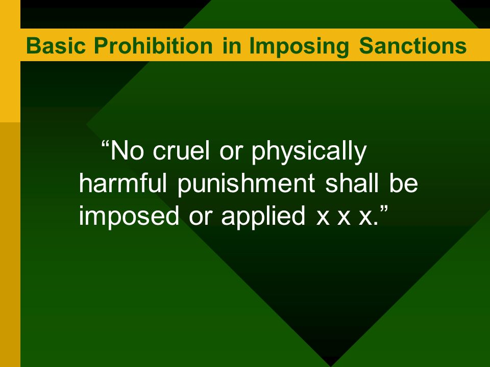 Basic Prohibition in Imposing Sanctions