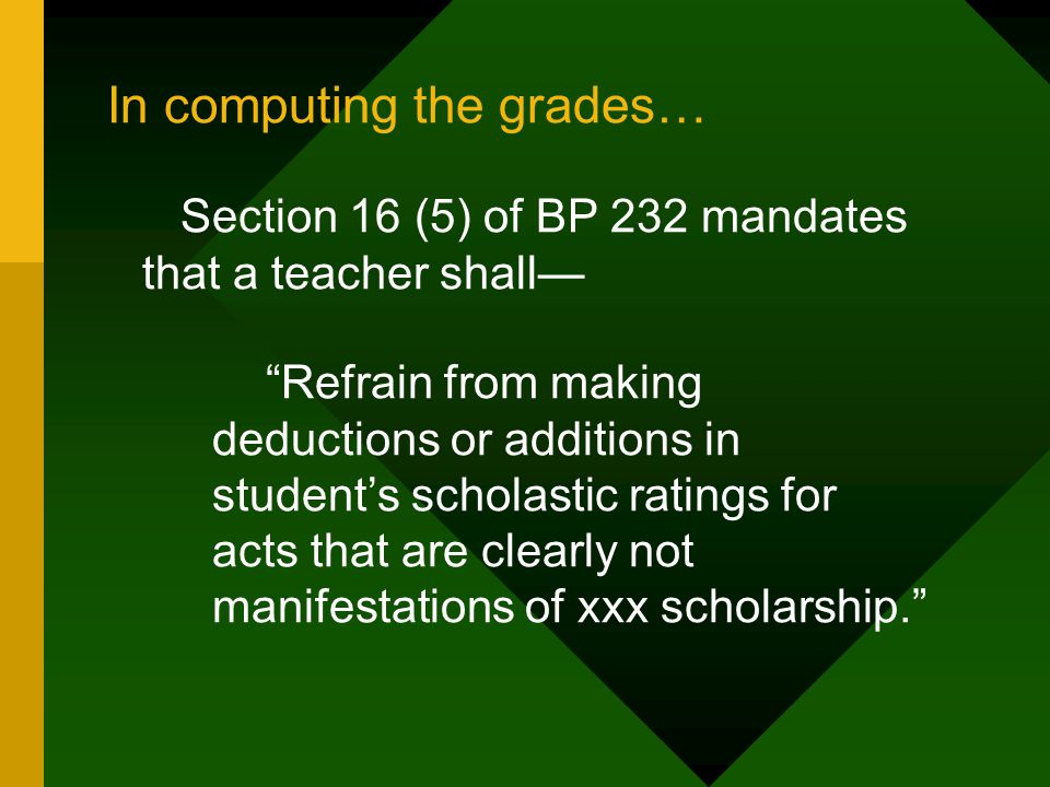 In computing the grades…