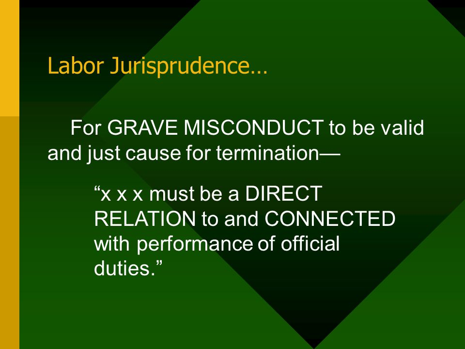 Labor Jurisprudence… For GRAVE MISCONDUCT to be valid and just cause for termination—