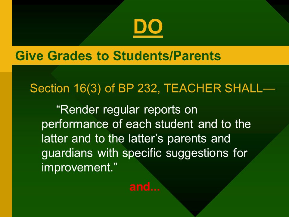 DO Give Grades to Students/Parents