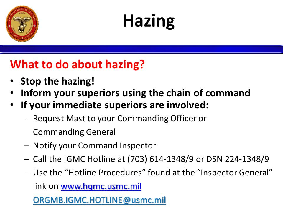 Hazing What to do about hazing Stop the hazing!