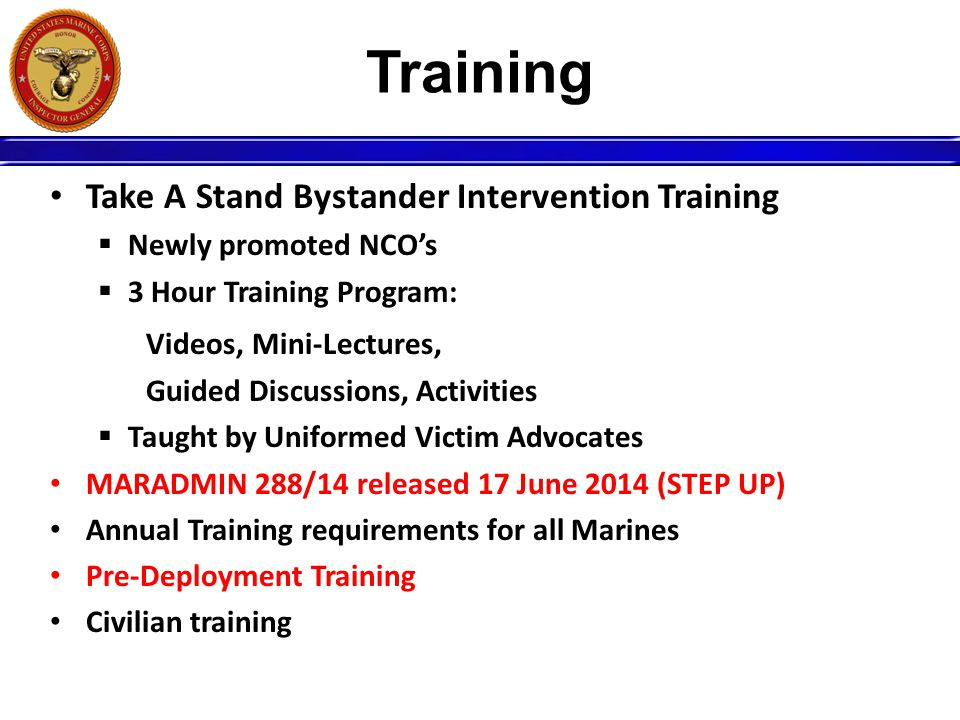 Training Take A Stand Bystander Intervention Training