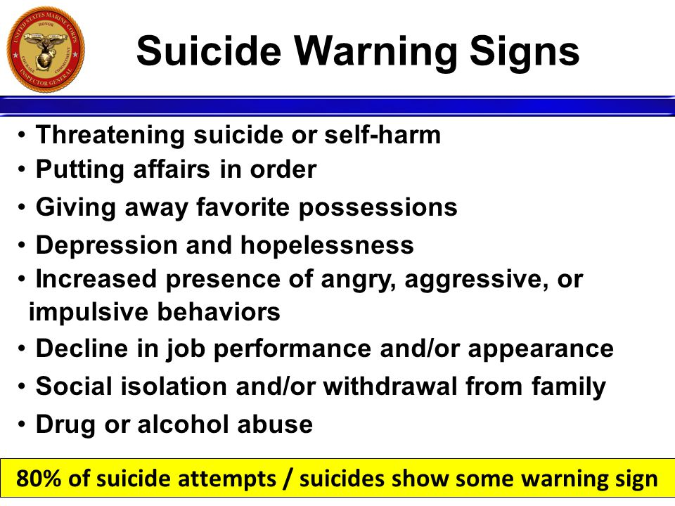 80% of suicide attempts / suicides show some warning sign