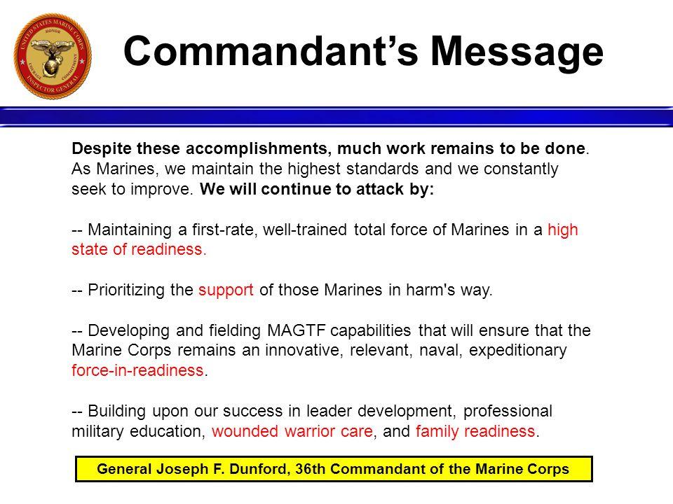 General Joseph F. Dunford, 36th Commandant of the Marine Corps