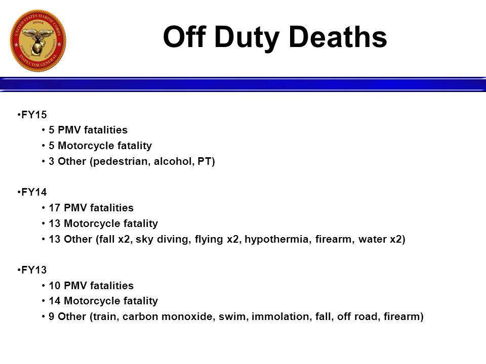 Off Duty Deaths FY15 5 PMV fatalities 5 Motorcycle fatality