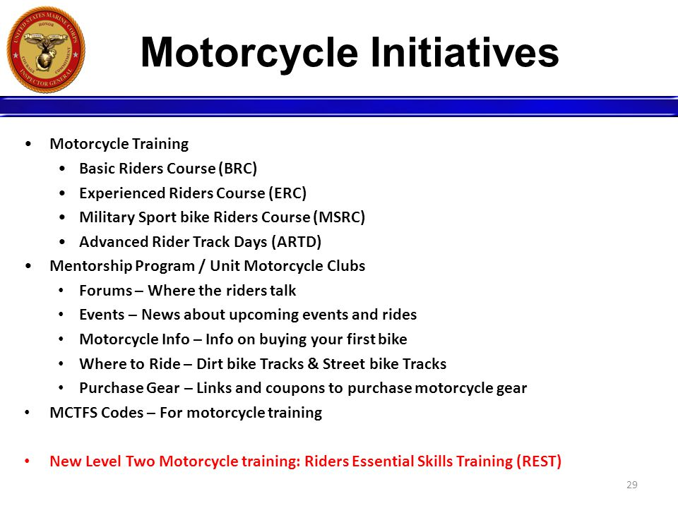 Motorcycle Initiatives