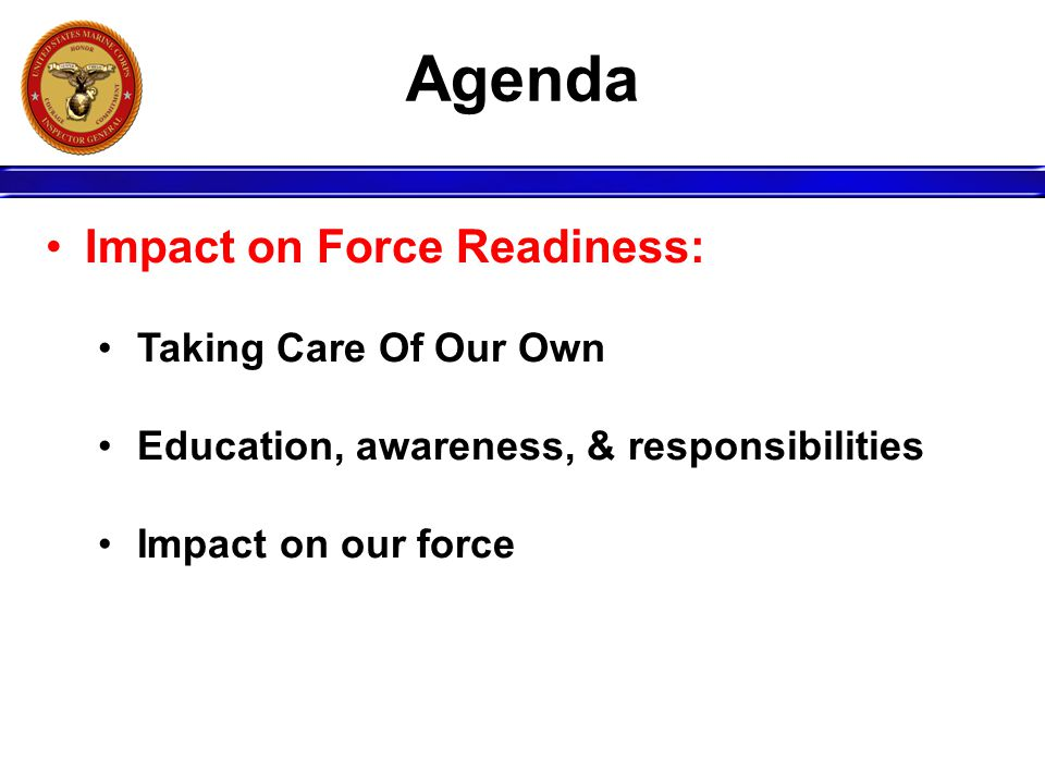 Agenda Impact on Force Readiness: Taking Care Of Our Own