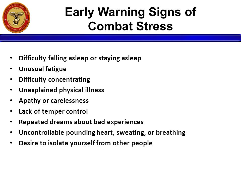 Early Warning Signs of Combat Stress