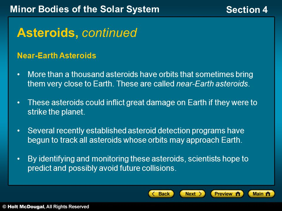 Asteroids, continued Near-Earth Asteroids