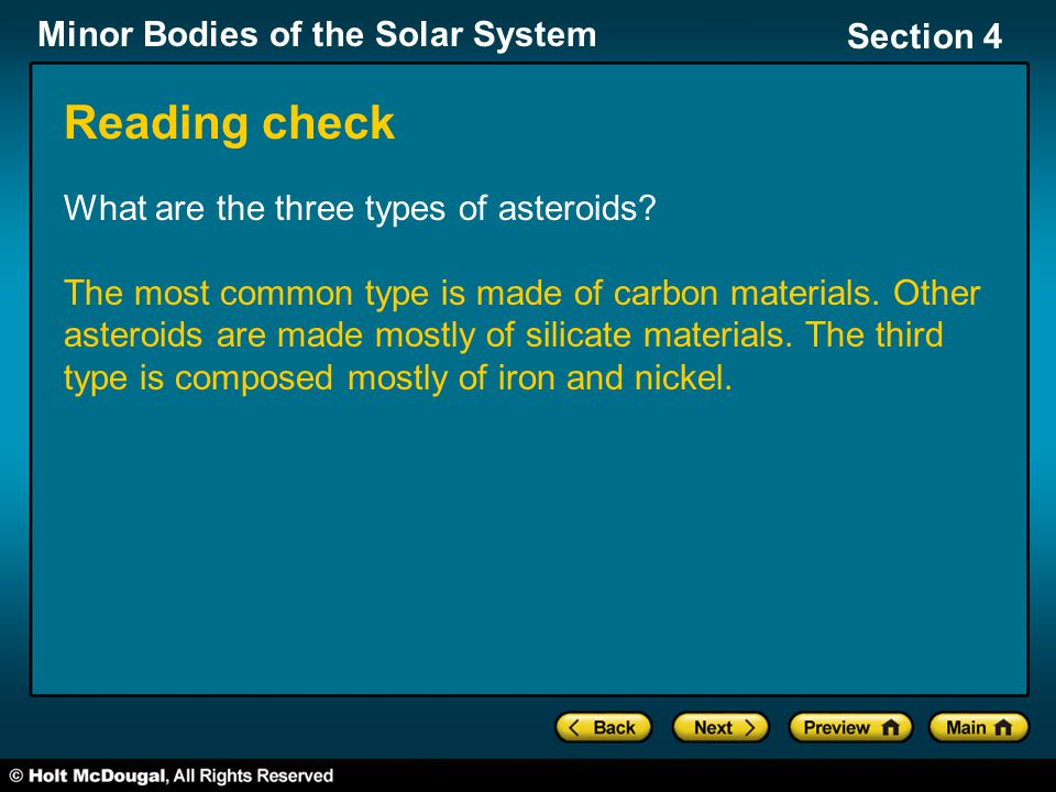 Reading check What are the three types of asteroids