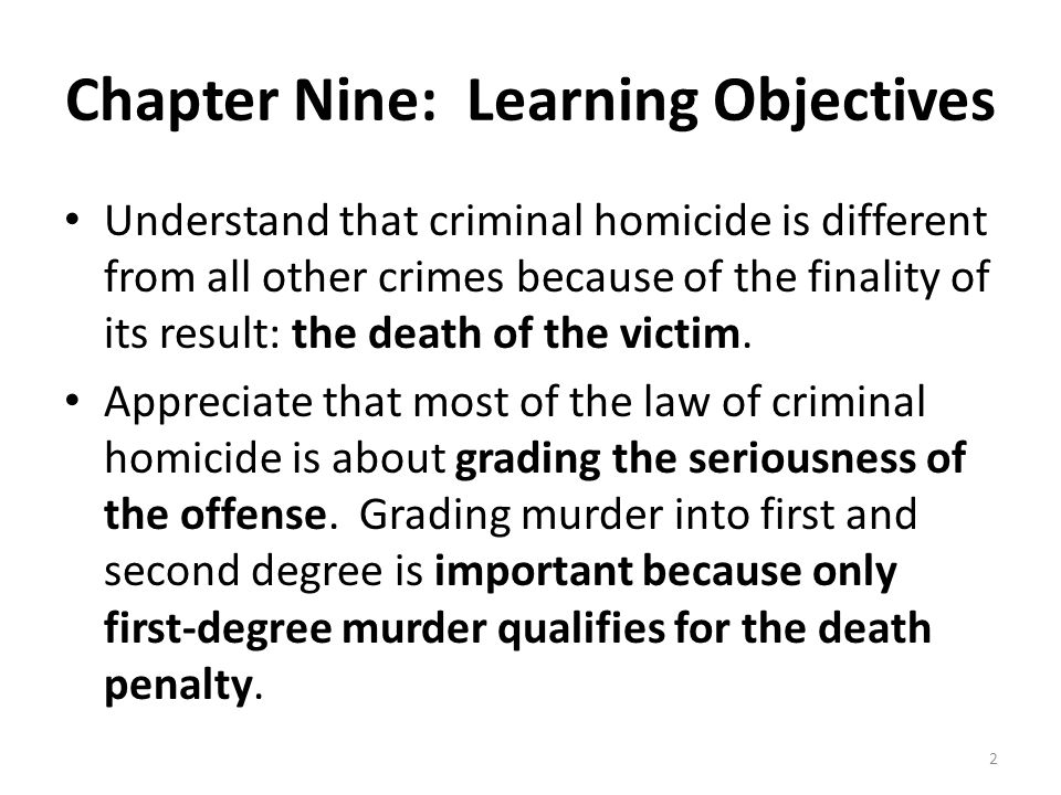 Chapter Nine: Learning Objectives
