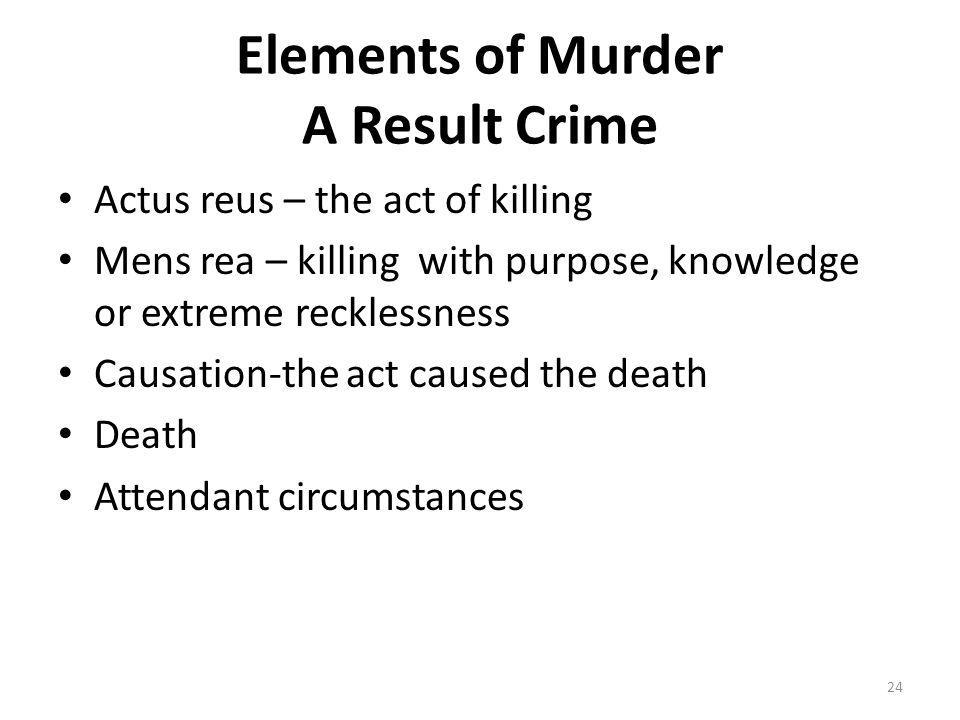 Elements of Murder A Result Crime