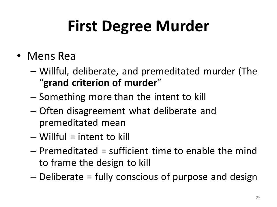 First Degree Murder Mens Rea