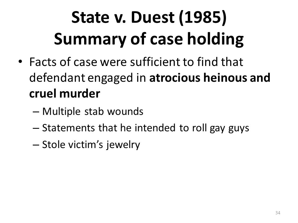 State v. Duest (1985) Summary of case holding