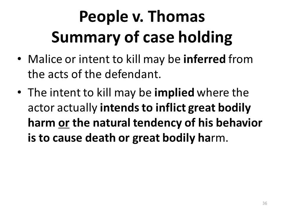 People v. Thomas Summary of case holding