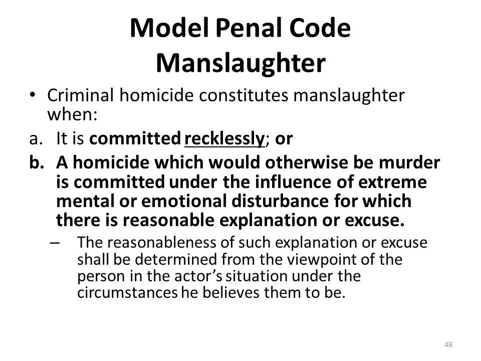 Model Penal Code Manslaughter