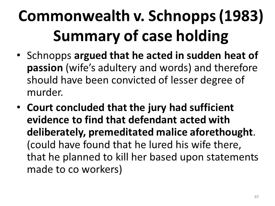 Commonwealth v. Schnopps (1983) Summary of case holding