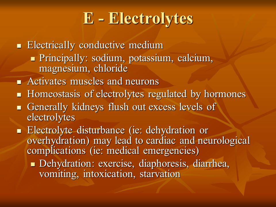 E - Electrolytes Electrically conductive medium