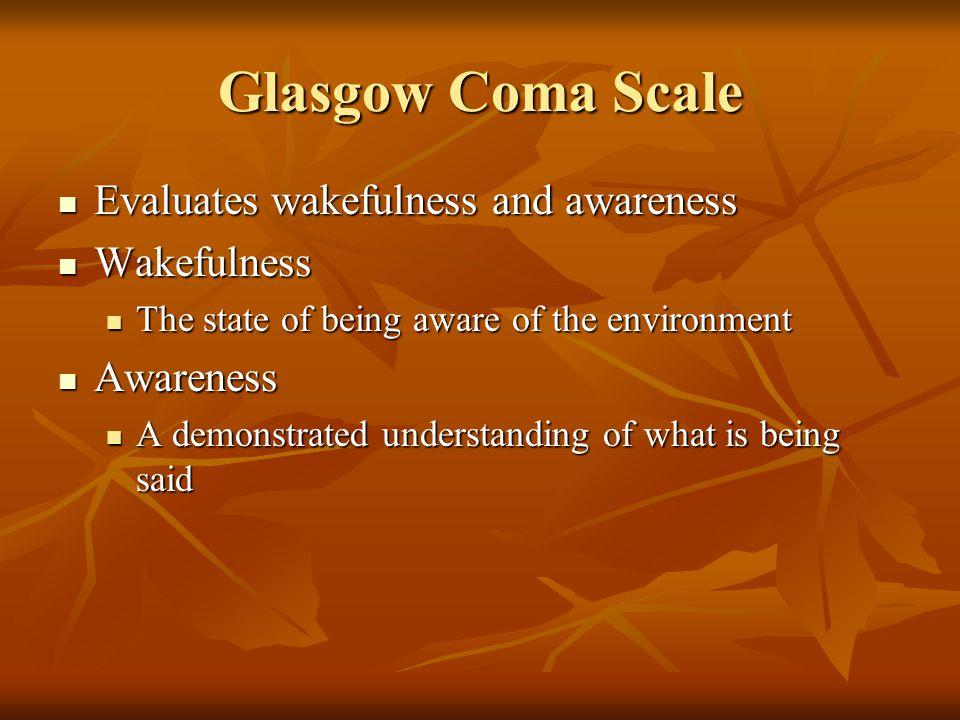 Glasgow Coma Scale Evaluates wakefulness and awareness Wakefulness