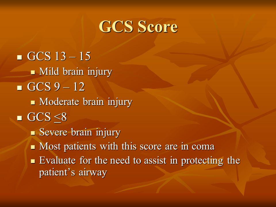 GCS Score GCS 13 – 15 GCS 9 – 12 GCS <8 Mild brain injury