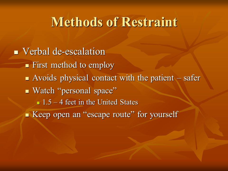 Methods of Restraint Verbal de-escalation First method to employ