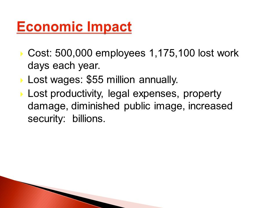 Cost: 500,000 employees 1,175,100 lost work days each year.
