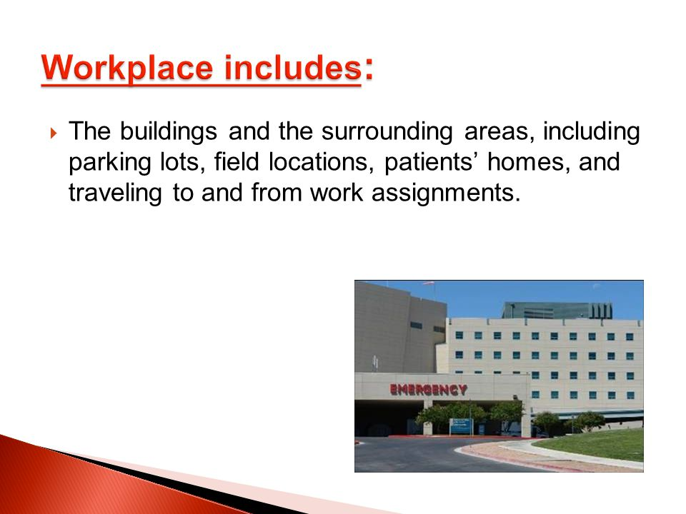 The buildings and the surrounding areas, including parking lots, field locations, patients' homes, and traveling to and from work assignments.