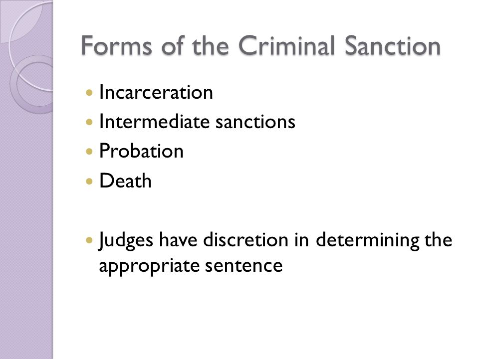 Forms of the Criminal Sanction