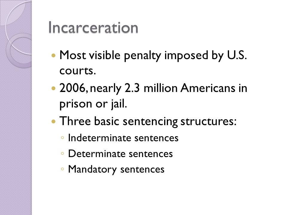 Incarceration Most visible penalty imposed by U.S. courts.