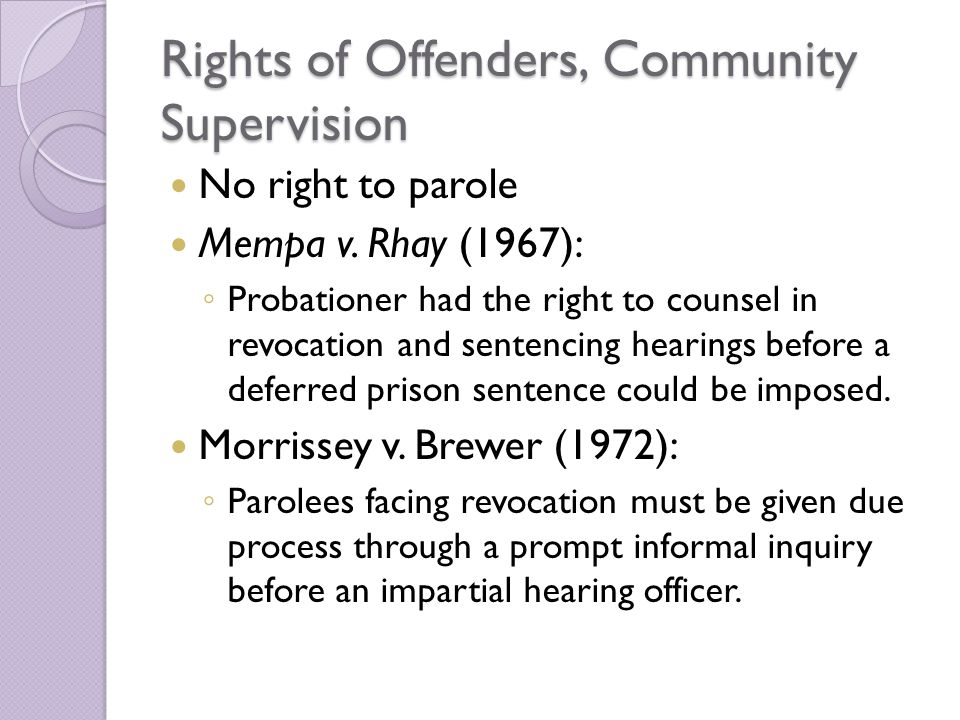 Rights of Offenders, Community Supervision