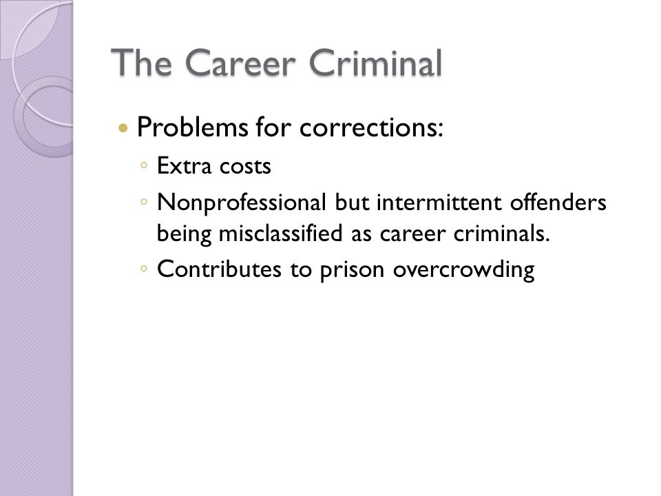 The Career Criminal Problems for corrections: Extra costs