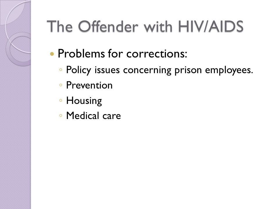 The Offender with HIV/AIDS