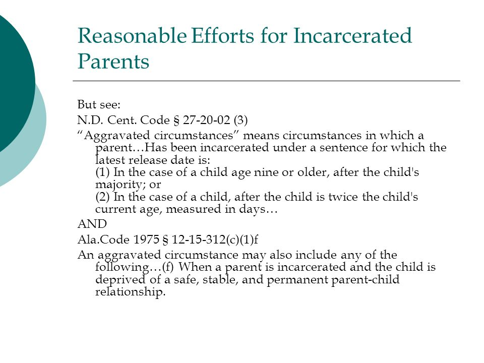 Reasonable Efforts for Incarcerated Parents