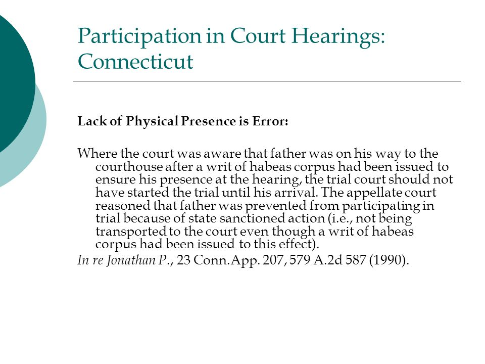 Participation in Court Hearings: Connecticut