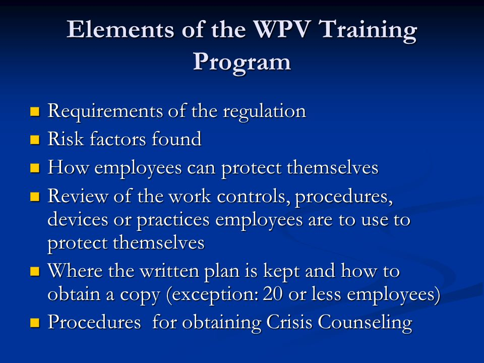 Elements of the WPV Training Program
