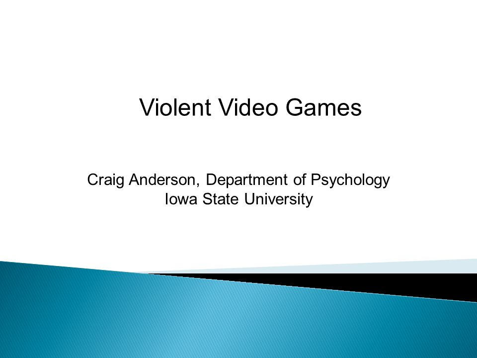 Craig Anderson, Department of Psychology