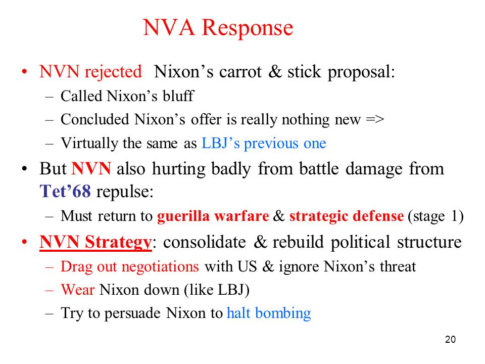 NVA Response NVN rejected Nixon's carrot & stick proposal: