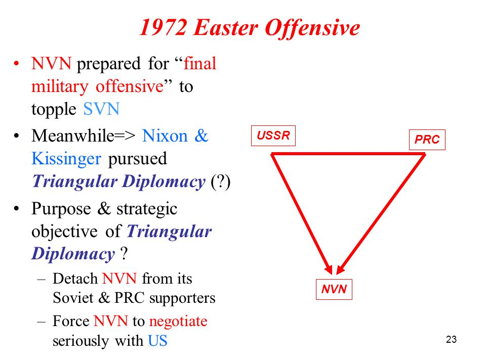 1972 Easter Offensive NVN prepared for final military offensive to topple SVN. Meanwhile=> Nixon & Kissinger pursued Triangular Diplomacy ( )