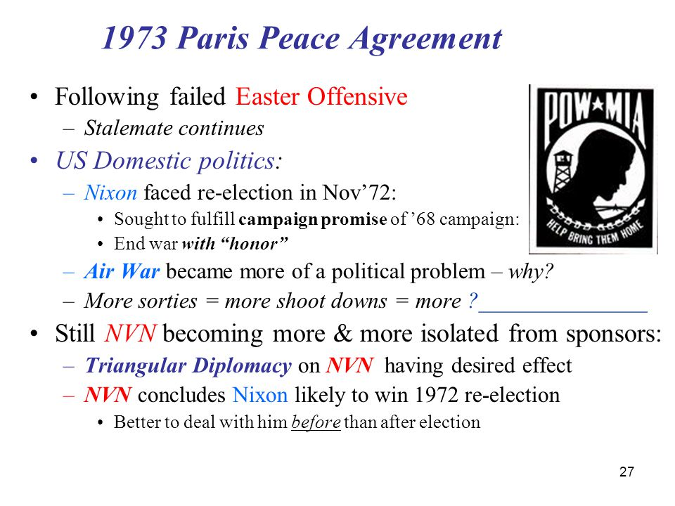 1973 Paris Peace Agreement Following failed Easter Offensive