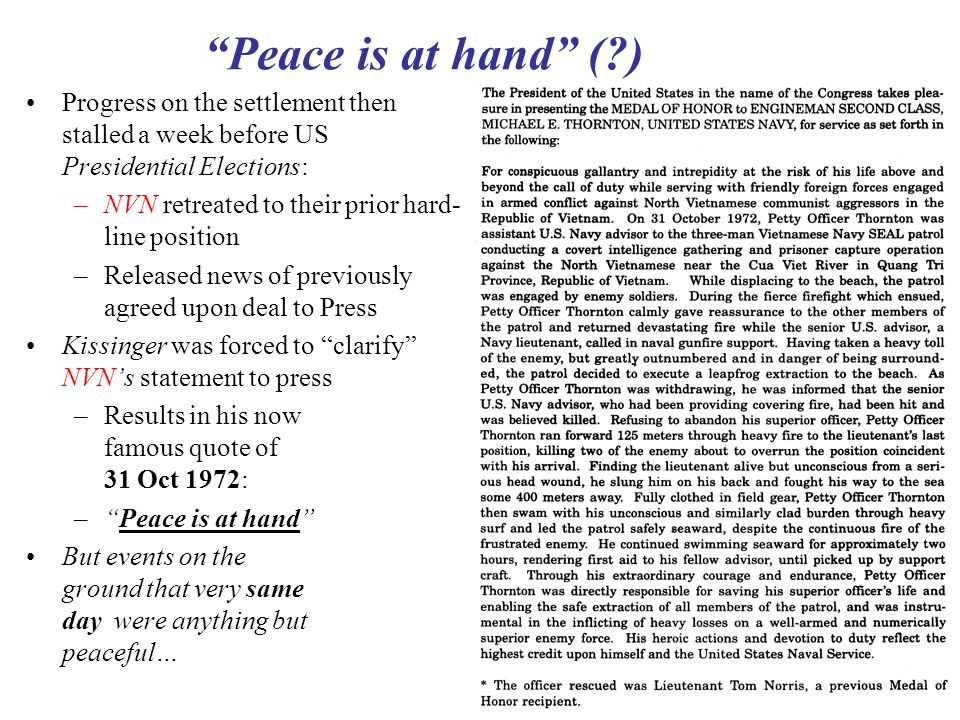 Peace is at hand ( ) Progress on the settlement then stalled a week before US Presidential Elections: