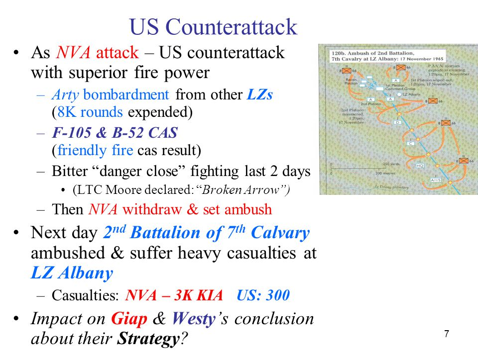 US Counterattack As NVA attack – US counterattack with superior fire power. Arty bombardment from other LZs (8K rounds expended)