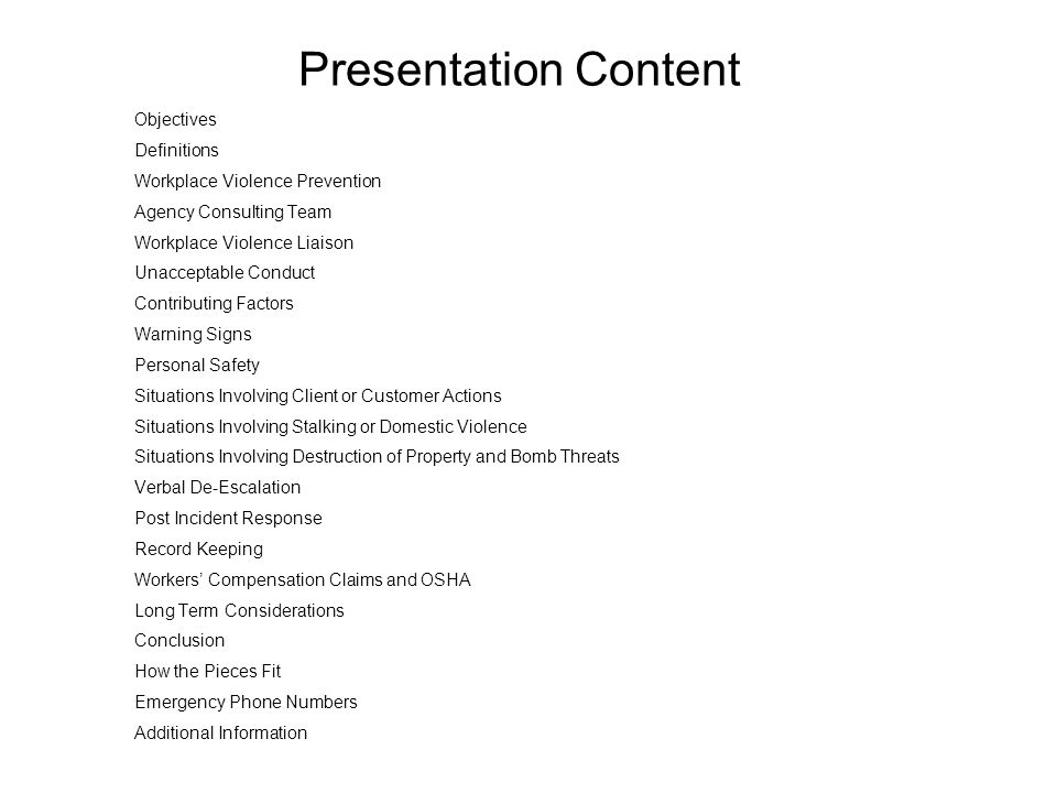 Presentation Content Objectives Definitions