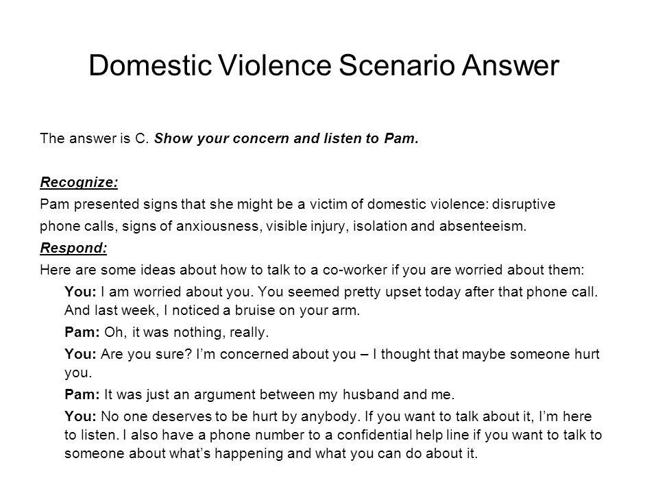 Domestic Violence Scenario Answer
